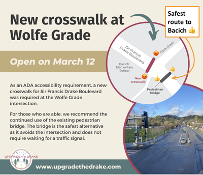 Safe Routes Information on New Crosswalk