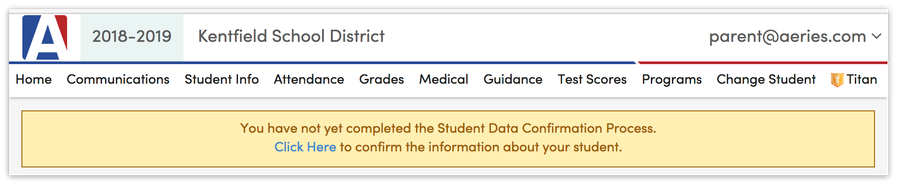 A screenshot showing the Student Data Confirmation alert at the top of the Aeries Parent Portal page.