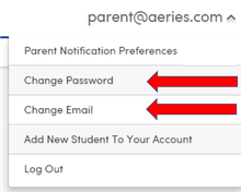 Aeries parent portal change email or password menu